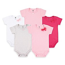 image of BabyVision® Hudson Baby® 5-Pack Basic Bow Bodysuits in Pink