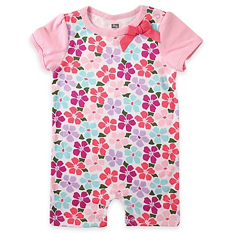 Babyvision Hudson Baby Floral Contrast Sleeve Romper In