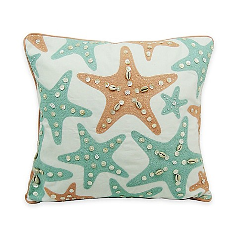 Newport Starfish Throw Pillow in Aqua and Coral - Bed Bath & Beyond