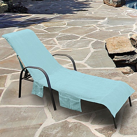 Ultimate Chaise Lounge Chair Cover with Storage Pockets in Sea Blue : chaise lounge chair cover - Sectionals, Sofas & Couches
