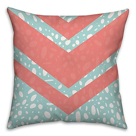 Buy Coral Dalmatian 16-Inch Square Throw Pillow in Pink/Blue from Bed Bath & Beyond