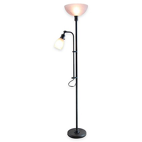 lighting bleeker torchiere floor lamp with reading light in dark zinc. Black Bedroom Furniture Sets. Home Design Ideas