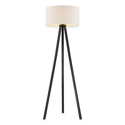 tripod floor lamp in black wood grain the adesso anderson tripod floor. Black Bedroom Furniture Sets. Home Design Ideas