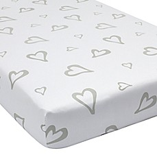 image of Greenbuds Abstract Affection Organic Cotton Fitted Crib Sheet in White/Grey