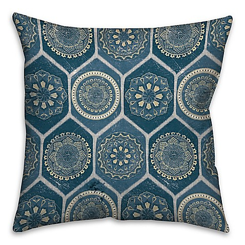 Bed Bath And Beyond Blue Throw Pillows : The Vintage House Exotic Emblems Square Throw Pillow in Blue - Bed Bath & Beyond