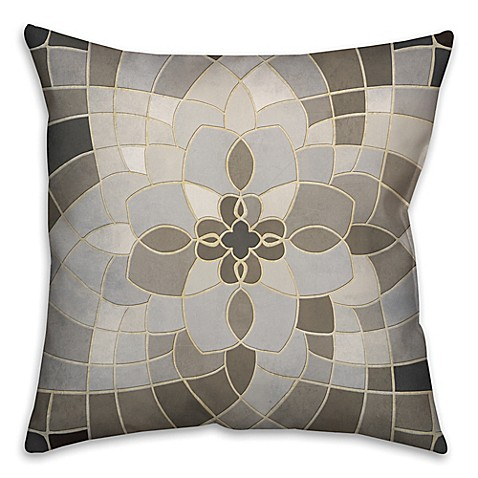 Grey Throw Pillows For Bed : Greige Mosaic Square Throw Pillow in Grey/Beige - Bed Bath & Beyond