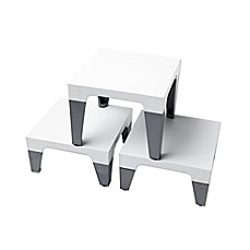 image of Sterling Risers® Modern Tabletop Designs in White/Silver (Set of 3)