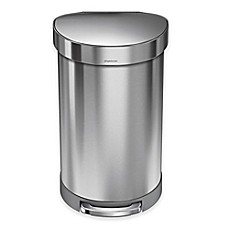 image of simplehuman® Stainless Steel 45-Liter Semi-Round Liner Rim Step Trash Can