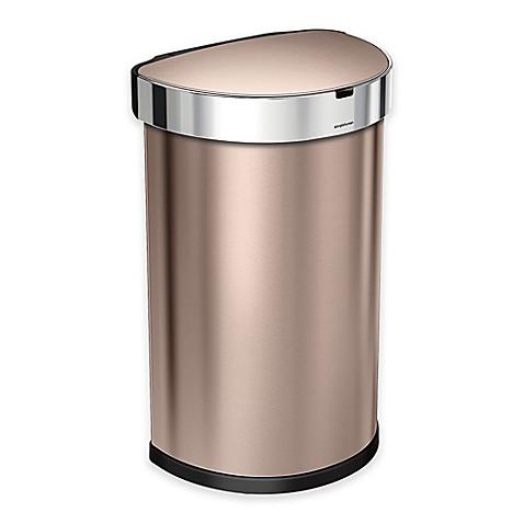Buy simplehuman fingerprint proof 45 liter semi round for Gold bathroom bin