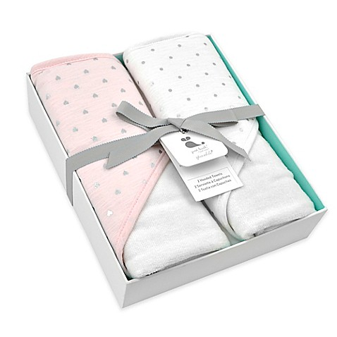Just Born Sparkle Hooded Towel 2-Pack in Pink