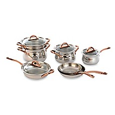 image of BergHOFF® 11-Piece Ouro Cookware Set with Rose Gold Coated Handles and Glass Lids