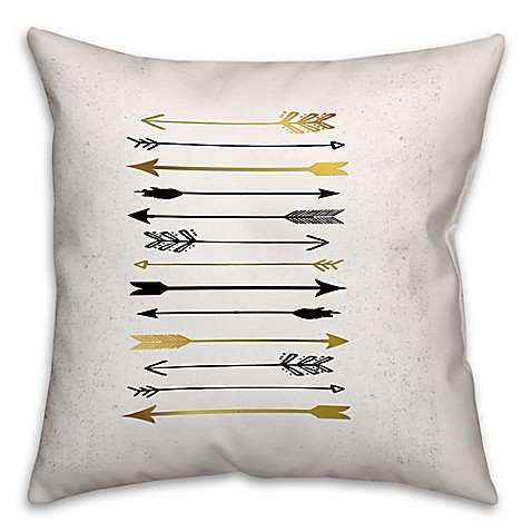 Arrows Galore Throw Pillow in Black/Gold - Bed Bath & Beyond