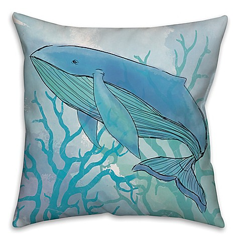 Blue Coral Throw Pillow : Buy Whale Blue Coral 18-Inch Square Throw Pillow from Bed Bath & Beyond