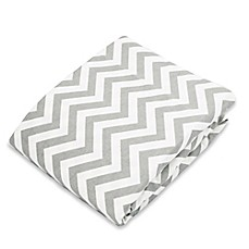 image of kushies® Flannel Portable Play Pen Fitted Sheet In Chevron Grey