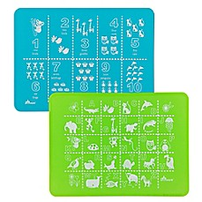 image of Brinware ABC & 123 Silicone Placemat Set in Blue/Green (Set of 2)
