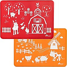image of Brinware Barnyard Friends Silicone Placemat Set in Orange/Red (Set of 2)