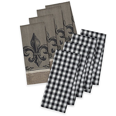 Fleur de lis jacquard and check kitchen towel set of 4 for Black and white bathroom paper