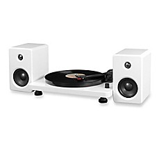 image of Victrola™ Modern Record Player with Bluetooth 50-Watt Speakers and 3-Speed Turntable in White