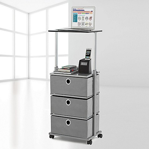 High Quality Image Of Studio 3B™ 3 Drawer Adjustable Top Storage Cart In Grey