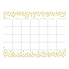 image of WallPops!® 2-Piece Dry-Erase Month Calendar/Message Board Set in Gold with Dry-Erase Marker