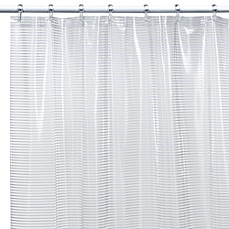 image of Linea White Vinyl Shower Curtain