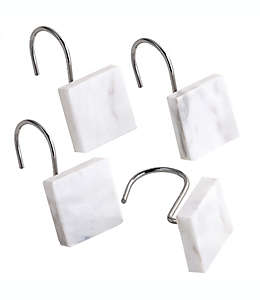 Camarillo Ganchos para cortina de baño en mármol, Set de 12