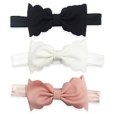 image of 3-Pack Infant Scallop Bow Headbands in Pink/White/Black