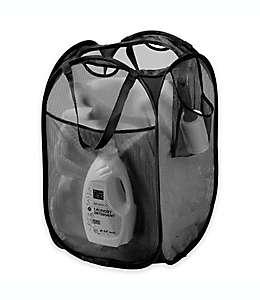 Cesto de malla plegable para ropa sucia de poliéster color negro