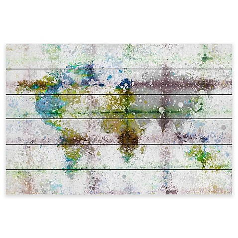 Marmont hill color splash map white wood wall art bed for Color splash wall art