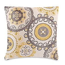 image of Make-Your-Own-Pillow Equinox Throw Pillow Cover in Yellow/Grey