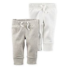 image of carter's® 2-Pack Babysoft Ribbed Cotton Cuffed Faux-Drawstring Pant