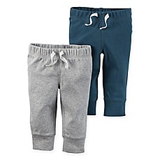 image of carter's® 2-Pack Babysoft Ribbed Cotton Cuffed Faux-Drawstring Pant in Grey/Blue