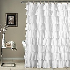 Image Of Ruffle Shower Curtain In White