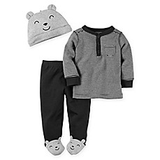 image of carter's® 3-Piece Babysoft Bear Footed Pant, Top, and Hat Set in Heather Grey/Black