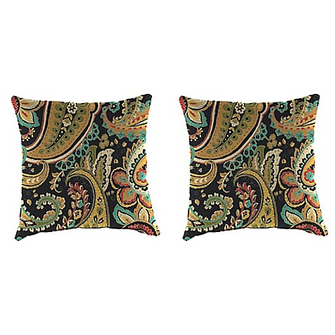 Outdoor 18-Inch Square Throw Pillow in Hadia Noir (Set of 2) - Bed Bath & Beyond