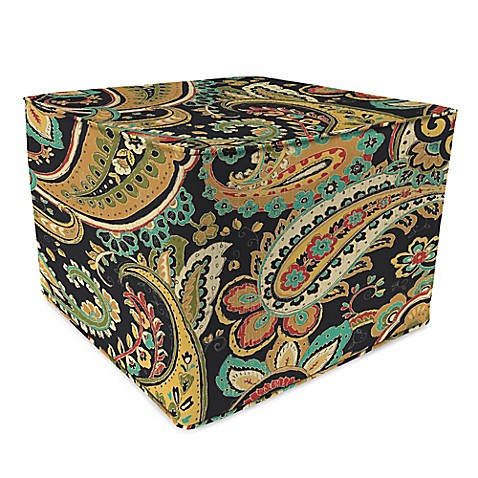 outdoor 20 inch square pouf in hadia noir bed bath beyond. Black Bedroom Furniture Sets. Home Design Ideas