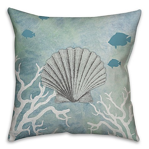 White Square Throw Pillows : Buy Shell 16-Inch Square Throw Pillow in White/Blue from Bed Bath & Beyond