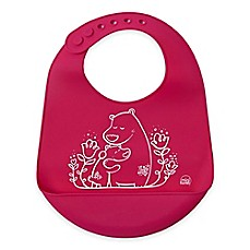 image of Modern Twist Bears Silicone Bib in Pink