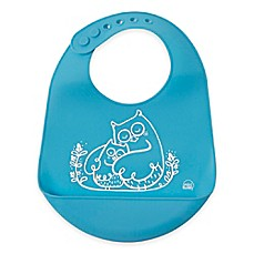 image of Modern Twist Owls Silicone Bib in Blue