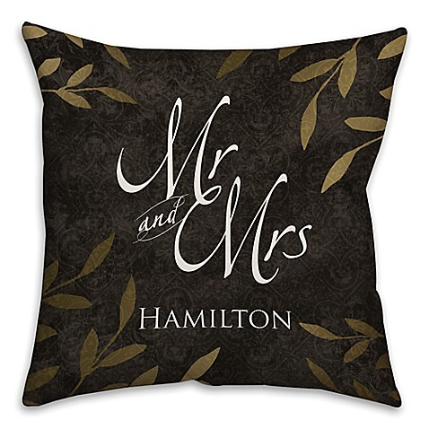 Quot Mr And Mrs Quot Gold Leaf Square Throw Pillow In Black