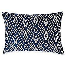 image of callisto home silver beaded geometric ibiza oblong throw pillow in navy