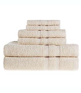Set de toallas de algodón Simply Essential™ color arena, 6 piezas