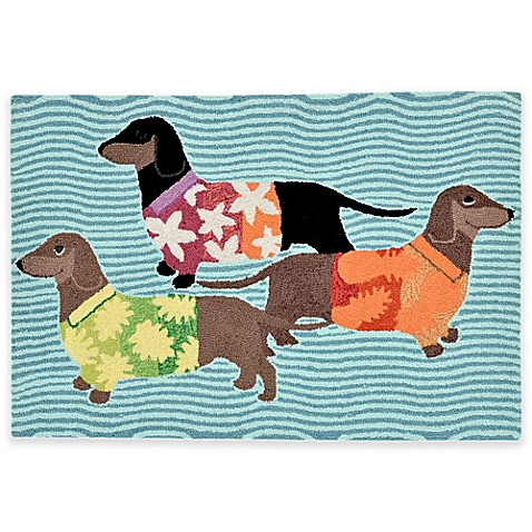 Trans Ocean Front Porch Tropical Hounds Accent Rug Bed