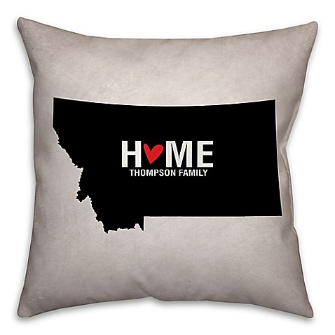 Black Throw Pillows Bed Bath And Beyond : Buy Montana State Pride Square Throw Pillow in Black/White from Bed Bath & Beyond