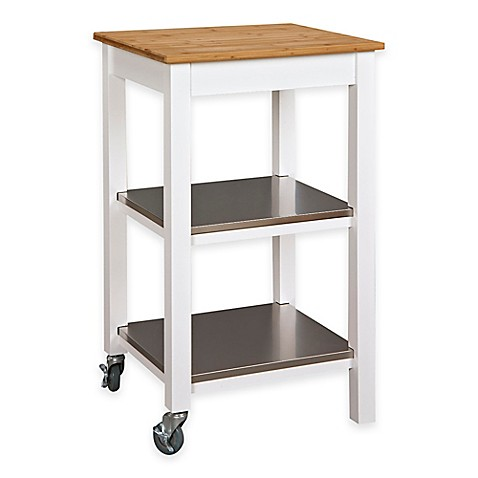 bamboo kitchen island kitchen island cart with bamboo top and stainless steel shelves bed bath beyond 9105