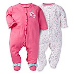 image of Gerber® 2-Pack Bird Zip-Front Footies in Pink/White