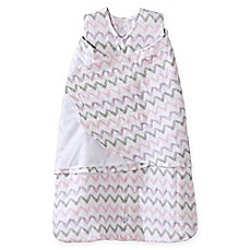 image of HALO® SleepSack® Chevron Muslin Multi-Way Swaddle in Pink/Grey