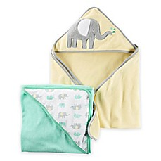 image of carter's® 2-Pack Elephant Hooded towels in Yellow/Green