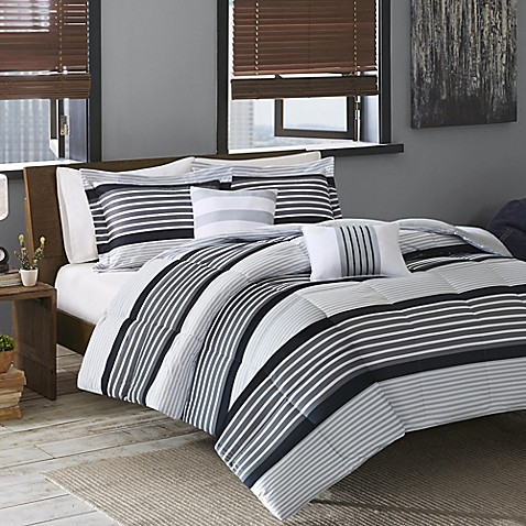 buy cozy soft paul full queen comforter set in black white grey from bed bath beyond. Black Bedroom Furniture Sets. Home Design Ideas