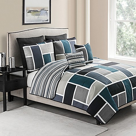 Vcny Morgan 7 Piece Reversible Quilt Set In Blue Bed